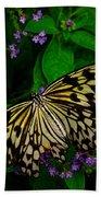 Butterfly - Yellow Green Purple Beach Towel