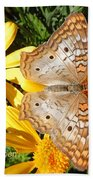 Butterfly And Daisies Beach Towel