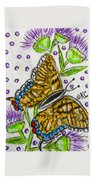 Butterfly And Thistles Beach Towel