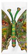 Butterfly Meadow Green Beach Towel
