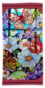Butterfly Octagon Stained Glass Window Beach Towel