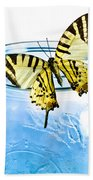 Butterfly On A Blue Jar Beach Towel by Bob Orsillo