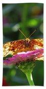 Fritillary Butterfly On Zinnia Beach Towel
