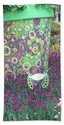 Butterfly Park Garden Painted Green Theme Beach Sheet