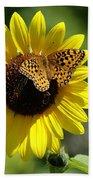 Butterfly Sunflower Beach Towel