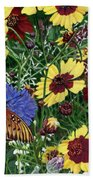 Butterfly Wildflowers Garden Oil Painting Floral Green Blue Orange-2 Beach Towel