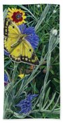 Butterfly Wildflowers Spring Time Garden Floral Oil Painting Green Yellow Beach Towel