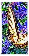 Butterfly With Purple Flowers 2 Beach Towel