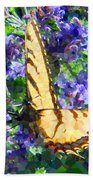 Butterfly With Purple Flowers 3 Beach Towel
