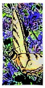 Butterfly With Purple Flowers Beach Towel