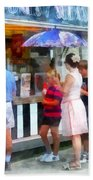 Buying Ice Cream At The Fair Beach Towel