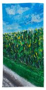 By An Indiana Cornfield The Road Home Beach Towel