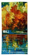 By The Rivershore Beach Towel by Leonid Afremov