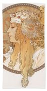 Byzantine Head Of A Blond Maiden Beach Towel