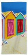 Cabana Row - Colorful Beach Cabanas Beach Towel