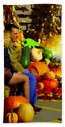 Cabbage Patch Kids - Giant Pumpkins - Marche Atwater Montreal Market Scene Art Carole Spandau Beach Towel