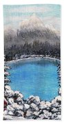 Cabin By The Lake - Winter Beach Towel by Barbara Griffin