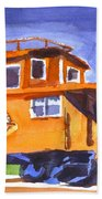 Caboose With Silver Signal Beach Towel