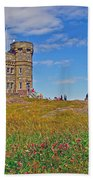 Cabot Tower In Signal Hill National Historic Site In Saint John's-nl Beach Towel