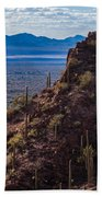 Cacti Covered Rock At Tucson Mountains Beach Towel