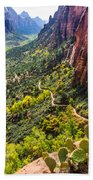 Cacti View Of Zion Beach Towel