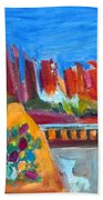 Cacti With Red Rocks And Rr Trestle Beach Towel