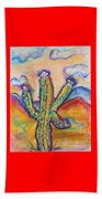 Cactus And Clouds Beach Sheet