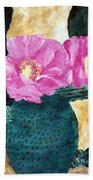 Cactus And The Pink Flower Beach Towel