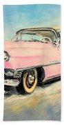Cadillac Fleetwood 1955 Pink Beach Towel