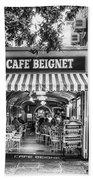 Cafe Beignet Morning Nola - Bw Beach Towel