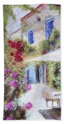 Cafe In The Spring Beach Towel