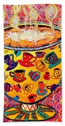 Cafe Latte - Coffee Cup With Colorful Coffee Cups Some Pink And Bubbles  Beach Towel