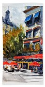 Cafe Le Champ De Mars Beach Towel