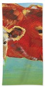 Calf And Cow Painting Beach Towel