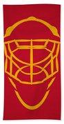 Calgary Flames Goalie Mask Beach Towel