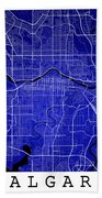 Calgary Street Map - Calgary Canada Road Map Art On Colored Back Beach Towel