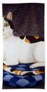 Calico Cat Portrait Beach Towel