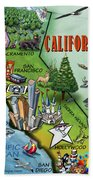 California Cartoon Map Beach Towel