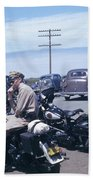 California Highway Patrol Harley Davidson Circa 1948 Beach Towel