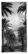 California Palms - Black And White Beach Towel