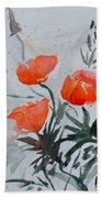 California Poppies Sumi-e Beach Towel