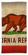 California State Flag Art On Worn Canvas Beach Towel by Design Turnpike