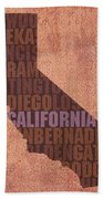 California Word Art State Map On Canvas Beach Towel