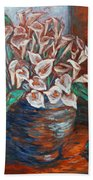 Calla Lilies And Frog Beach Towel