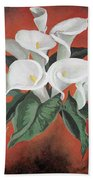 Calla Lilies On A Red Background Beach Towel