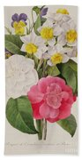 Camellias Narcissus And Pansies Beach Towel