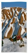 Camels On The Snow Beach Towel