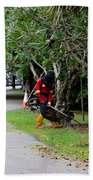 Camouflaged Leaf Blowers Working In Singapore Park Beach Towel
