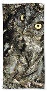Camouflaged Screech Owl Beach Towel