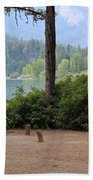 Camp By The Lake Beach Towel